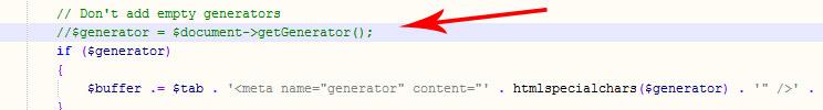 Убираем тег generator в Joomla, способ два