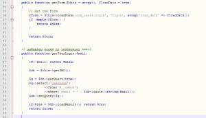 Добавления функции поиска пользователя по email в модель joomla