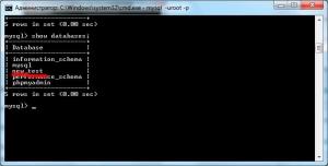 Командная консоль windows просмотр созданых баз данных mysql